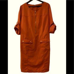Sharagano Orange Plus size Front Pocket Dress 18W